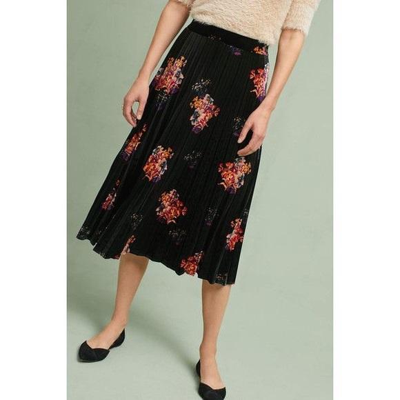 e9181d781a Anthropologie Skirts | Maeve Pleated Velvet Skirt | Poshmark